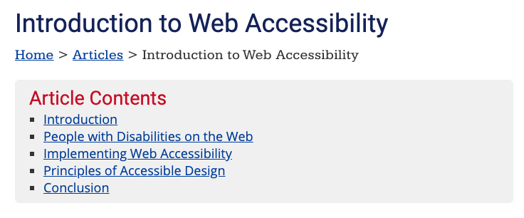 Anchor links labelled Article Contents on the Introduction to Web Accessibility of the WebAIM site