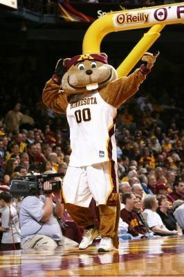 Goldy Gopher on a basketball court