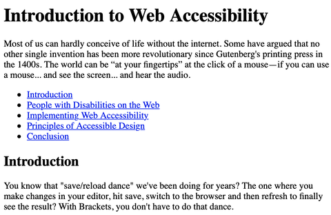 Anchor links without a label on an example Introduction to Web Accessibility page